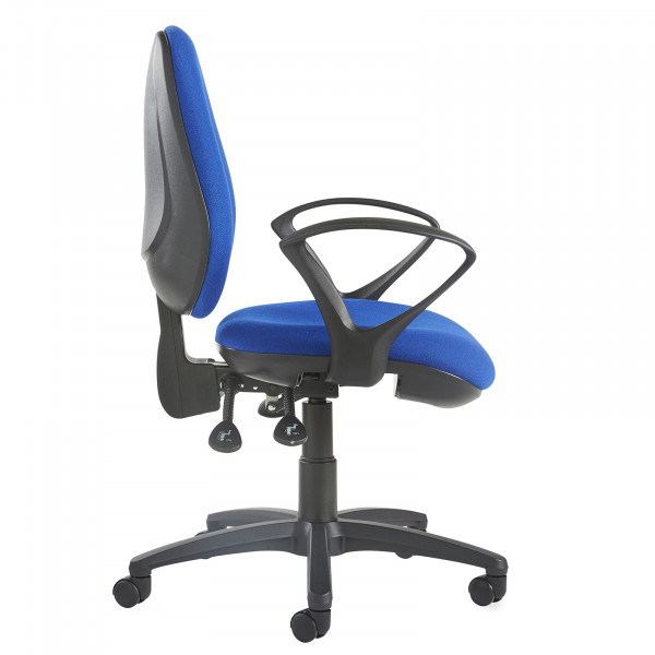 Jota high back operator chair fixed arms blue