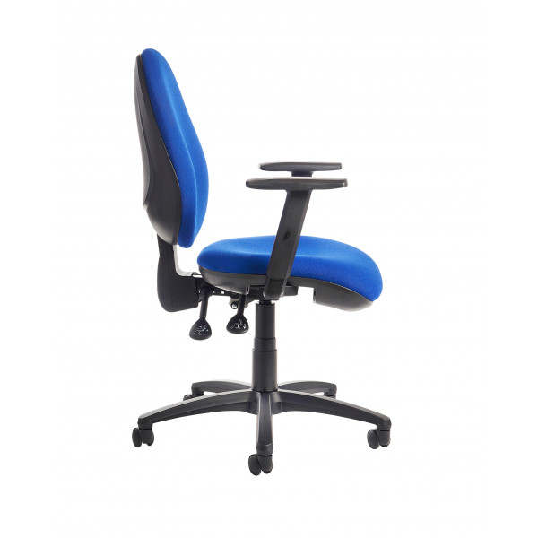 Jota high back operator chair adjustable arms blue