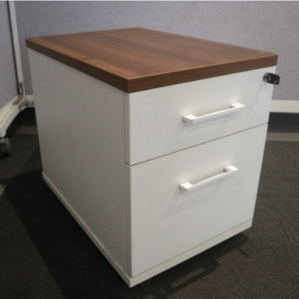 Imperial White Mobile Pedestal with Walnut Top