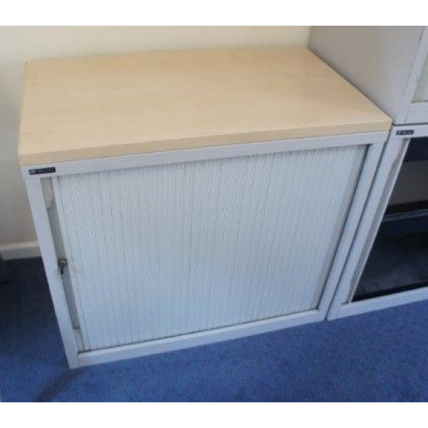 Grey 740h Tambour Cupboard with Maple Top