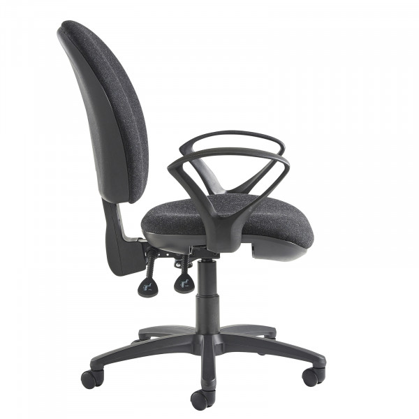 Lento high back operator chair fixed arms charcoal