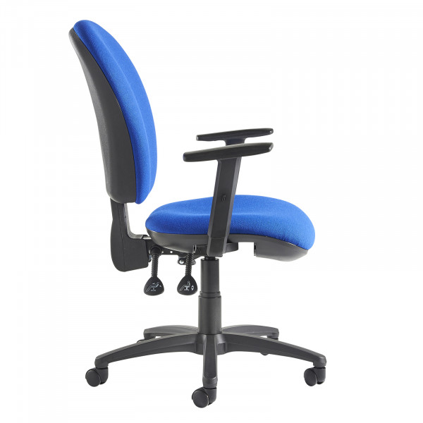 Lento high back operator chair adjustable arms blue