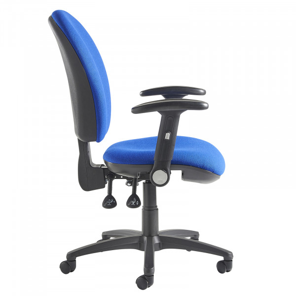 Lento high back operator chair folding arms blue