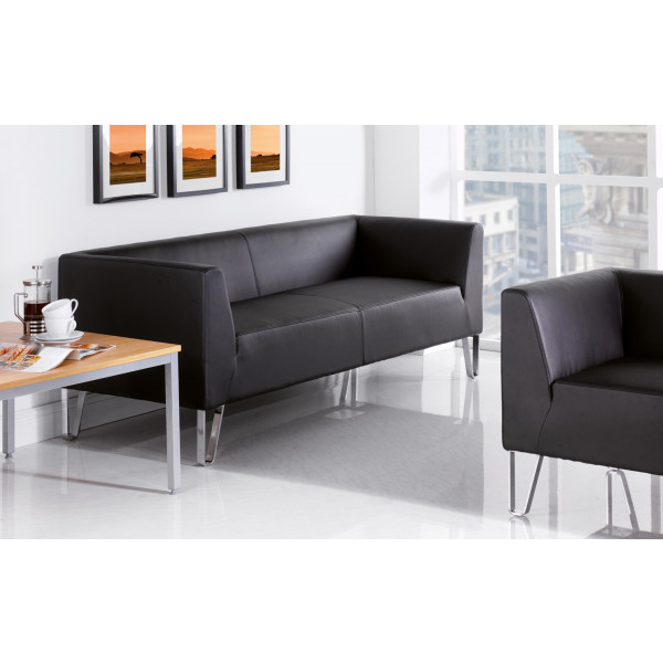 Linear 2 seater Black Faux leather designer Sofa