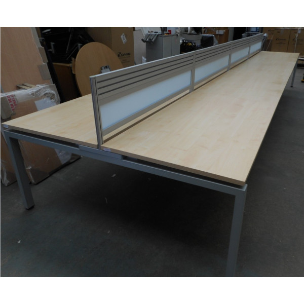 Verco Pod of 6 Maple 1400mm Desks with Perspex D/M Screens