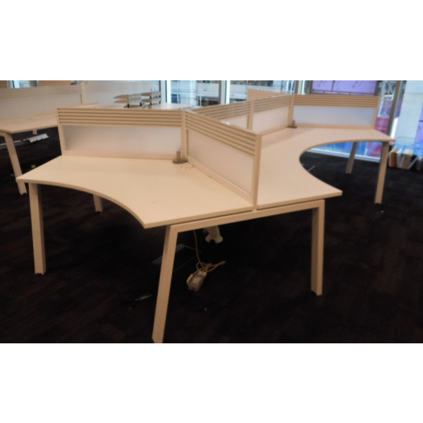 Elite Linnea Pod of 6 White 120 degree Segment Desks with Tool Bar Perspex Screens