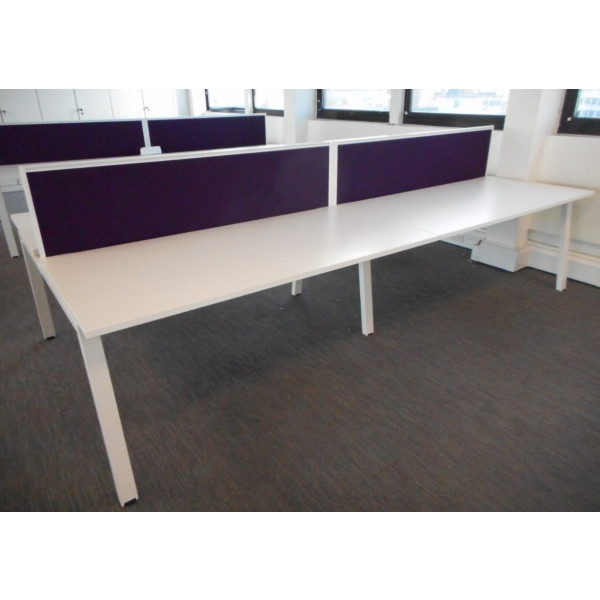 Elite Pod of 4 White Desks with Purple Screens