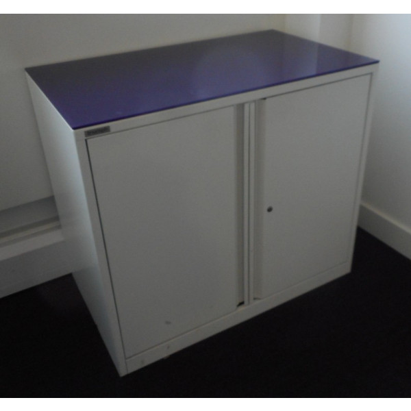 White 710h D/D Cupboard with Purple Glass Top
