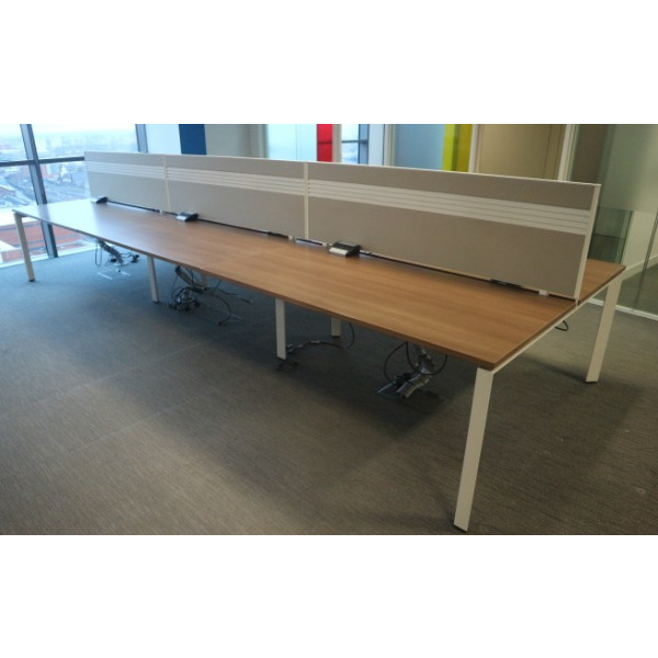 Steelcase Pod of 6 Straight 1600mm Walnut Desks with Light Beige D/M Screens