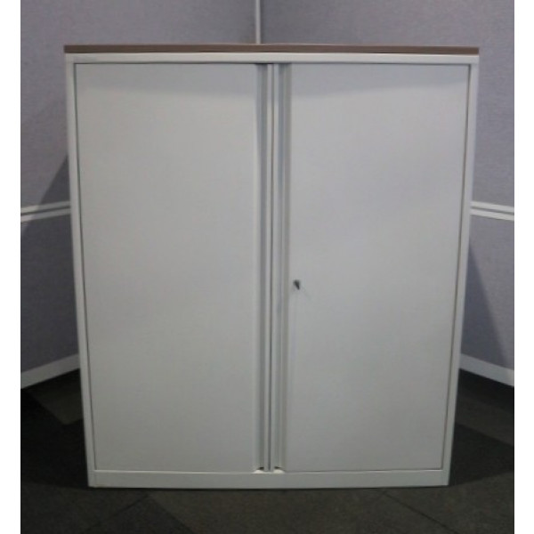 Steelcase White Metal 1200h D/D Cupboard with Walnut Top