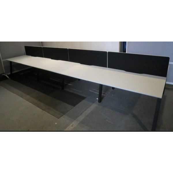 Pod of 8 Straight White 1200mm Desks with Black Screens