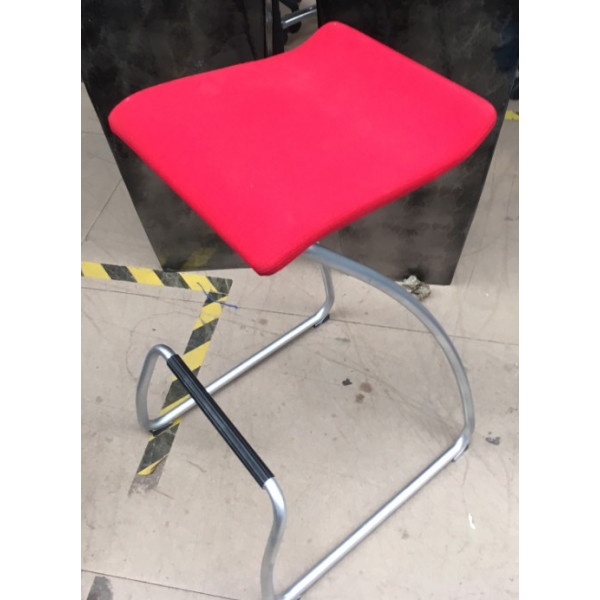 Orangebox Red High Stool with Foot Bar
