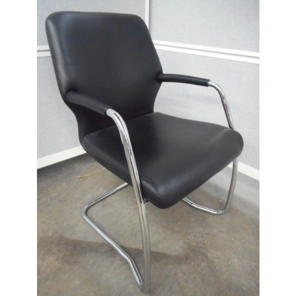 Boss Black Leather Meeting Chair