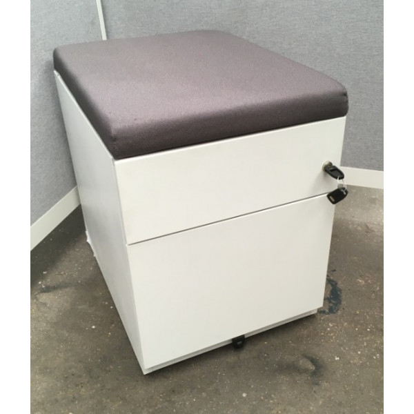 Herman Miller White Pedestal with Grey Seat