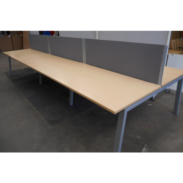 Elite Linnea Pod of 6 Ash Bench Desks With D/M Screens