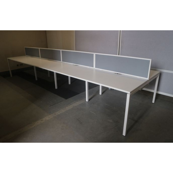 Narbutas Pod of 8 Straight 1200mm White Desks with Grey D/M Screens