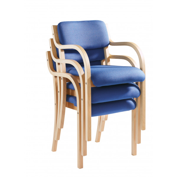Prague wood frame Stack Chair arms - Blue