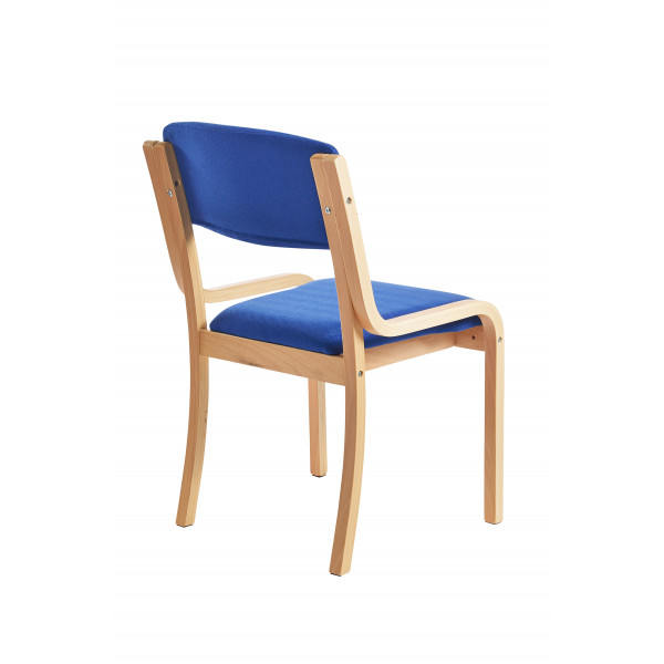 Prague wood frame Stack Chair No arms- Blue