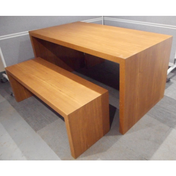 Light Walnut Canteen Table with matching Benches