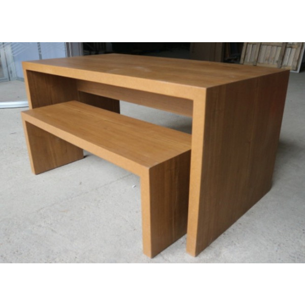 Light Walnut Canteen Table with matching Bench