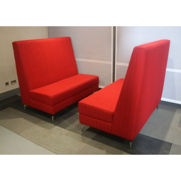Pair - Spacestor Red High Back Seating Booth