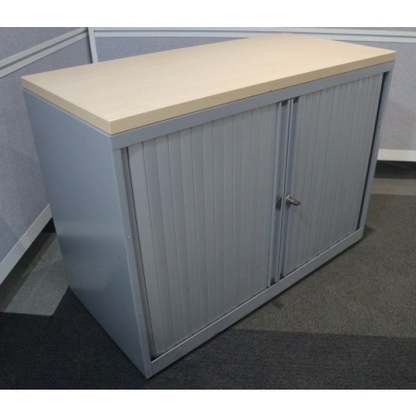Senator Maple/Grey D/H Tambour Cupboard