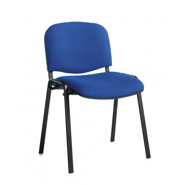 Box of 4 taurus black frame stacking chairs with blue fabric