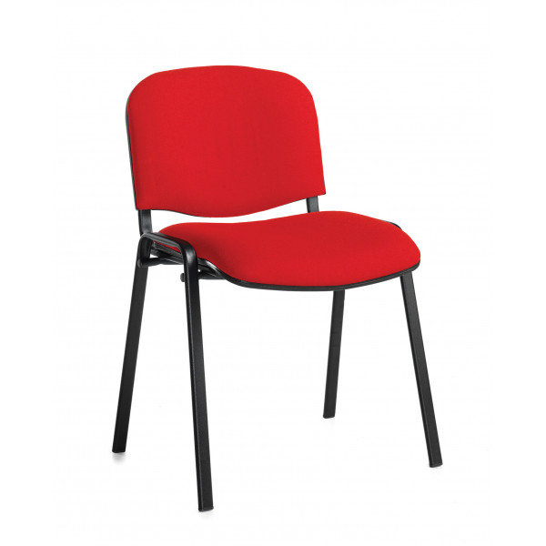 Box of 4 taurus black frame stacking chairs with red fabric