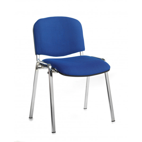 Box of 4 taurus chrome frame stacking chairs with blue fabric