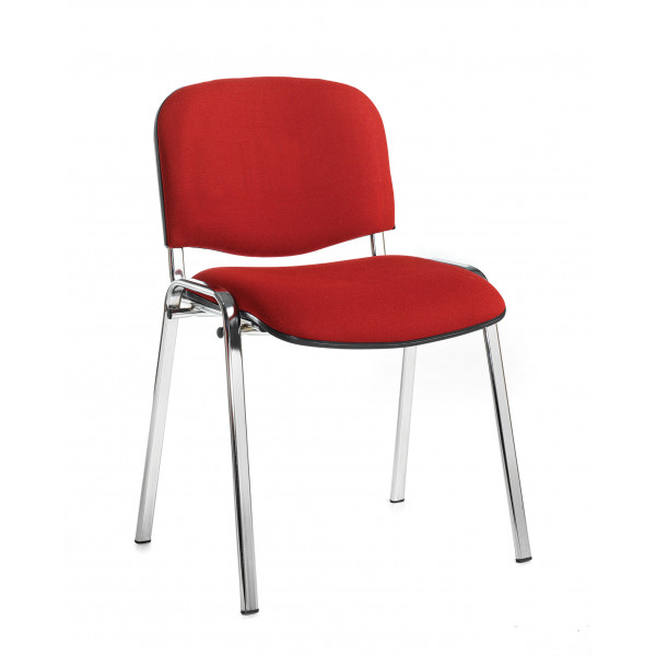 Box of 4 taurus chrome frame stacking chairs with burgundy fabric