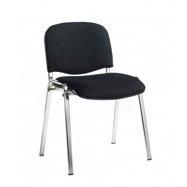 Box of 4 taurus chrome frame stacking chairs with charcoal fabric