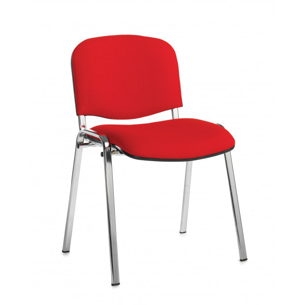 Box of 4 taurus chrome frame stacking chairs with red fabric