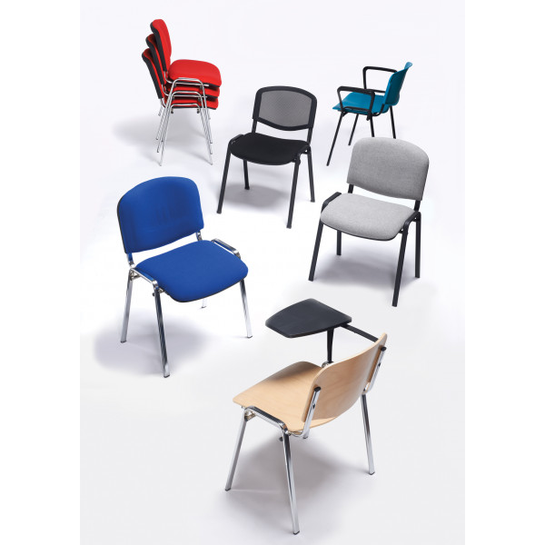 Box of 4 taurus chrome frame stacking chairs with red fabric with arms