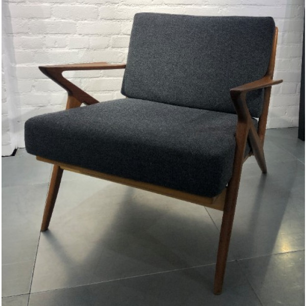 Mid Century Style Graphite Grey Lounge Chair