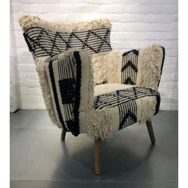 Boho Moroccan Chair Black and White