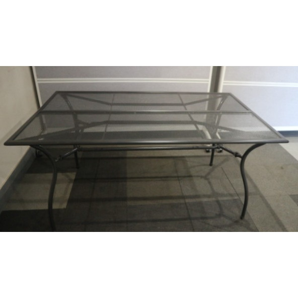 Grey Mesh Metal Outdoor Table
