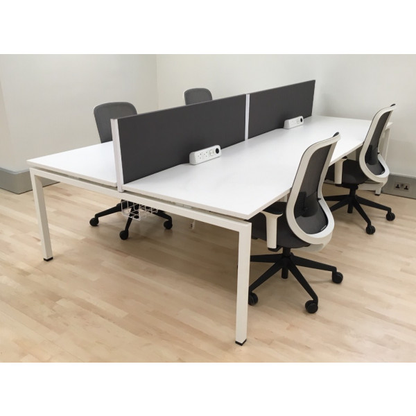 Senator Pod of 4 Straight White Desks with Grey D/M Screens