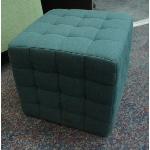 Allermuir CUB002 Petrol Blue Quilted Cube Stool