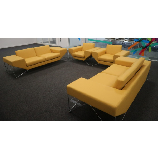 Yellow Leather 3 Seat Sofa