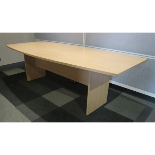 Beech 2400 x 1000 Boat Shaped Meeting Table