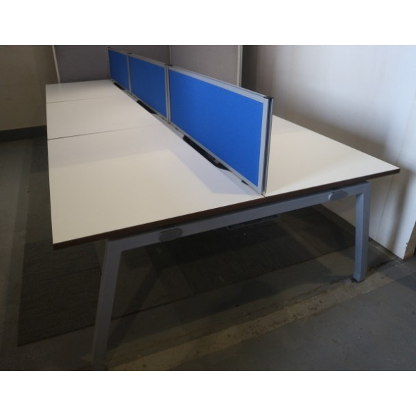 Pod of 6 Straight White 1200mm Desks with Blue D/M Screens