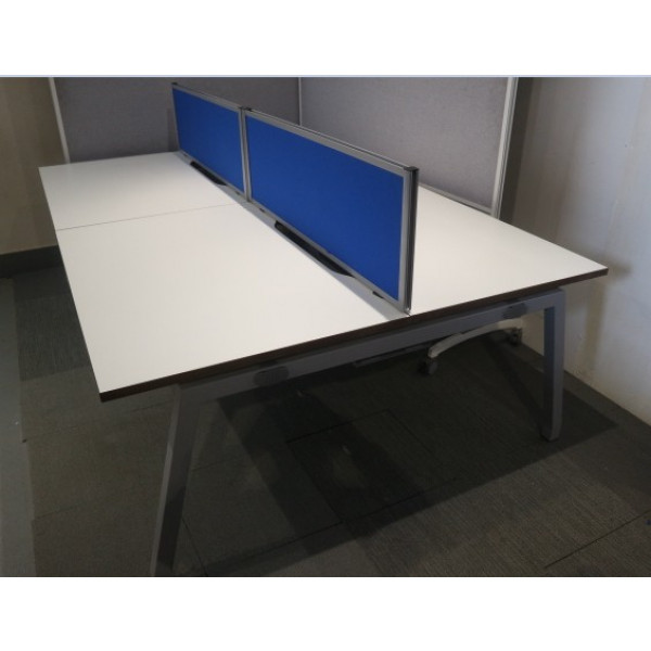 Pod of 4 Straight White 1200mm Desks with Blue D/M Screens