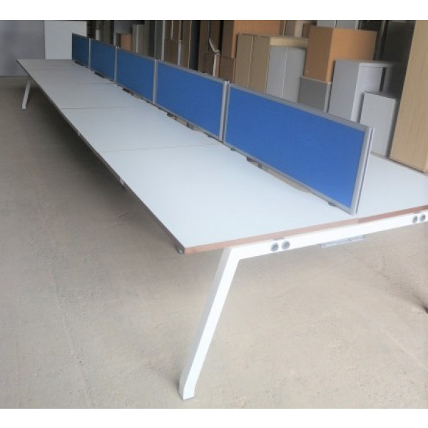 Pod of 10 Straight White 1200mm Desks with Blue D/M Screens