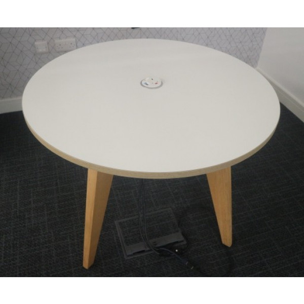 Mobili White Meeting Table with Power/Data