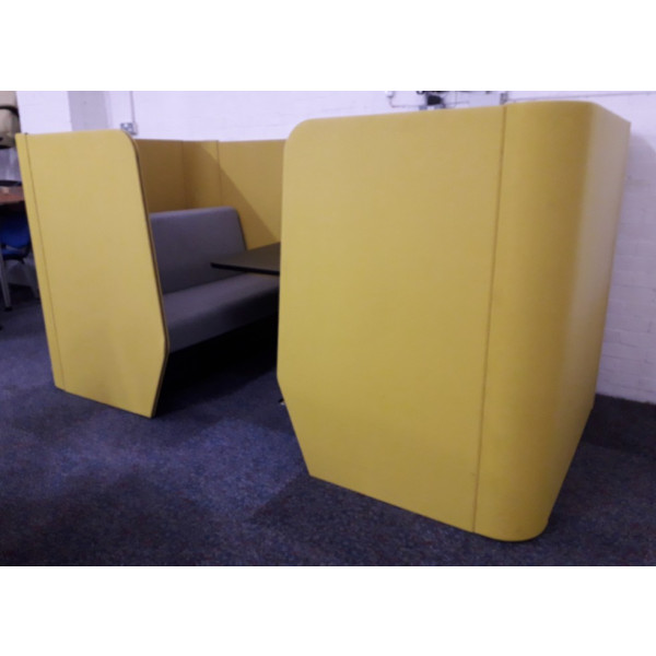 Mustard & Grey Meeting booth with Black Table