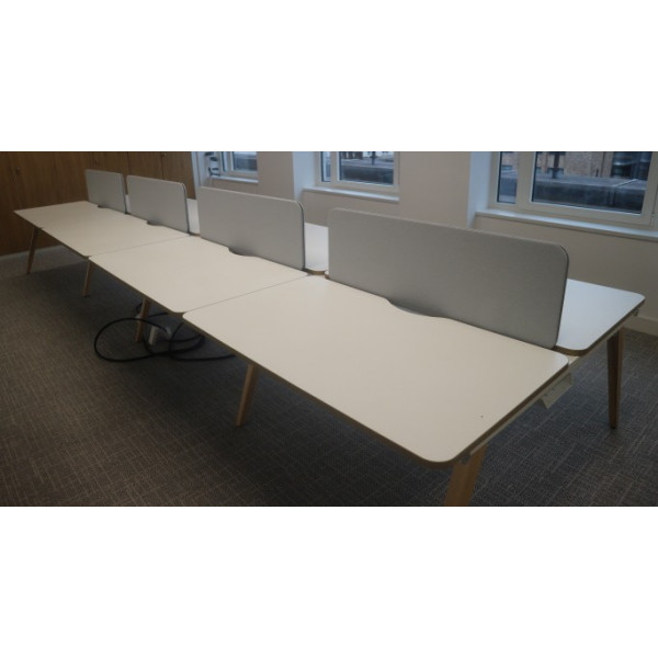 Mobili Pod of 8 White 1400mm Desks with Grey D/M Screens