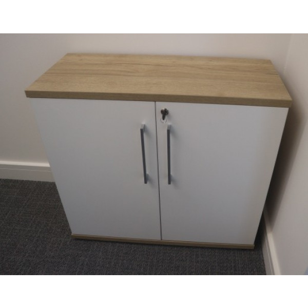 Oak with White Doors 730h D/D Cupboard