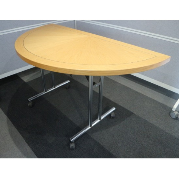 Dark Beech 1600 Flip Top D-End Table