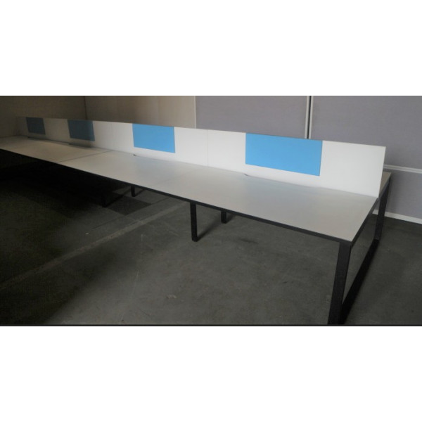 Nowy Styl Pod of 8 1600mm White Desks with White Screens Incl. Removable Blue Pinboards