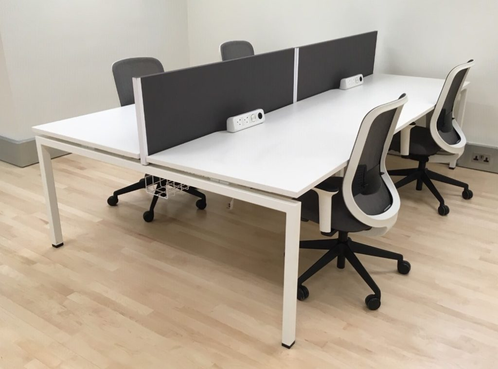 Mobili Pod of 4 Straight White Desks with Grey D/M Screens